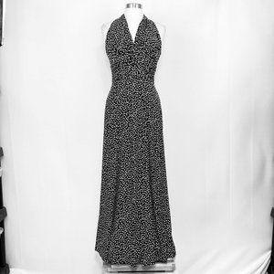 Evan Picone Black Label Women's 6 Maxi Dress Black White Polka Dots Halter #XX